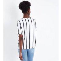 JDY White Stripe Short Sleeve Top New Look