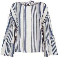 Blue Vanilla White Stripe Tiered Sleeve Top New Look