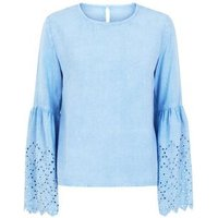 Blue Vanilla Pale Blue Lace Bell Sleeve Top New Look