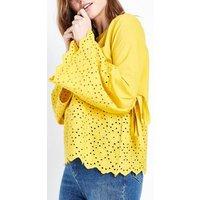 Blue Vanilla Yellow Broderie Bell Sleeve Top New Look