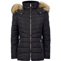 Black Faux Fur Trim Hooded Puffer Jacket New Look