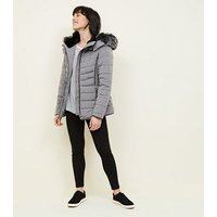 Pale Grey Faux Fur Trim Hooded Puffer Jacket New Look