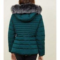 Dark Green Faux Fur Trim Hooded Puffer Jacket New Look
