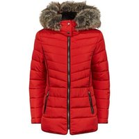Red Faux Fur Trim Hooded Puffer Jacket New Look