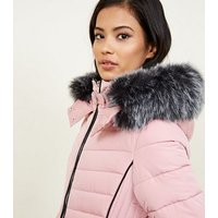 Mid Pink Faux Fur Trim Hooded Puffer Jacket New Look