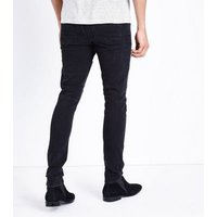 Black Washed Skinny Stretch Biker Jeans New Look