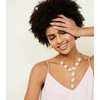 Pale Pink Sequin Lariat Drop Necklace New Look