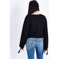 Black Aztec Embroidered Wrap Front Blouse New Look