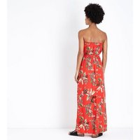 Red Tropical Floral Bandeau Maxi Dress New Look