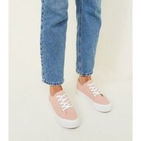 Wide Fit Nude Canvas Flatform Trainers New Look