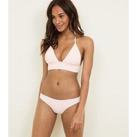 Mid Pink Stripe Cut-Out Embroidered Halterneck Bikini Top New Look