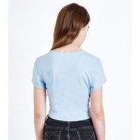 Teens Pale Blue Ruched Front T-Shirt New Look
