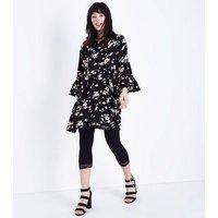 Black Lace Trim Cropped Leggings New Look