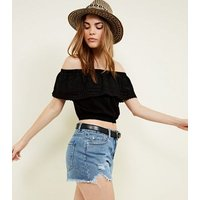Black Broderie Frill Bardot Neck Crop Top New Look