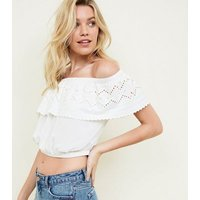 Off White Broderie Frill Bardot Neck Crop Top New Look