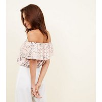 Pink Floral Broderie Frill Bardot Crop Top New Look