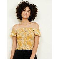 Yellow Leaf Print Shirred Bardot Crop Top New Look