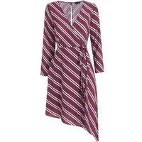 Brown Stripe Wrap Asymmetric Midi Dress New Look