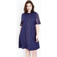 Mela Curves Navy Lace Tunic Dress New Look