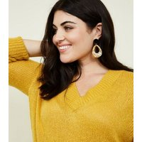 Curves Mustard V-Neck Longline Jumper New Look