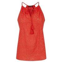 Red Broderie Tassel Tie Cami New Look