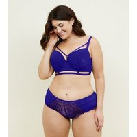 Curves Purple Strappy Lace Push-Up Bra New Look