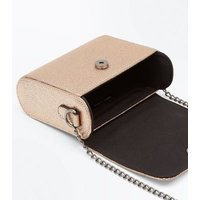 Rose Gold Curve Micro Chain Shoulder Bag New Look