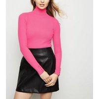 bright-pink-neon-roll-neck-popper-cuff-jumper-new-look