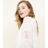 Blue Vanilla White Floral Embroidered Dip Hem Top New Look