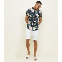 Men's Navy Floral and Leaf Printed Shirt New Look
