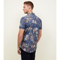 Blue Reverse Washed Floral Muscle Shirt New Look