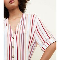Tall White Stripe Button Front Boxy Shirt New Look