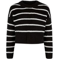 Girls Black Stripe Crew Neck Jumper New Look