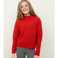 Girls Red Chunky Knit Pointelle Jumper New Look