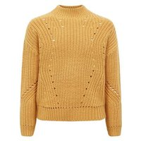 Girls Mustard Chunky Knit Pointelle Jumper New Look