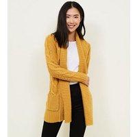 Mustard Shawl Collar Cable Knit Cardigan New Look