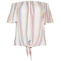 Curves White Stripe Tie Front Bardot Top New Look