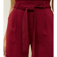 Burgundy Tie Waist Cropped Trousers New Look