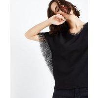 Mela Black Lace Trim V Neck Blouse New Look