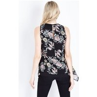 Mela Black Floral Print Layered Sleeveless Top New Look