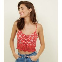 Red Floral Lattice Front Bralette New Look