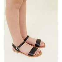 Teens Black Leather Sandals New Look