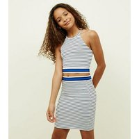 Teens White Stripe Tube Skirt New Look