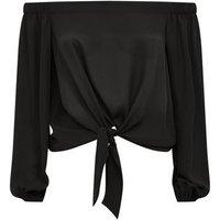 Black Tie Front Bardot Top New Look