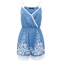 Blue Crochet Trim Wrap Front Playsuit New Look
