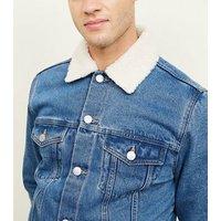 Pale Blue Borg Collar Denim Jacket New Look
