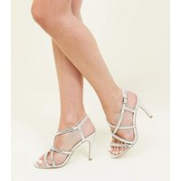 Silver Gem Embellished Strappy Stiletto Sandals New Look