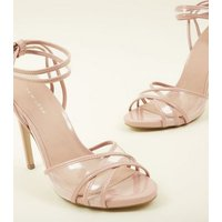 Nude Patent Perspex Style Cross Strap Stilettos New Look