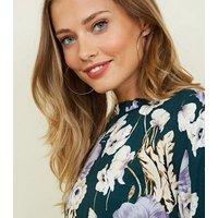 JDY Green Floral Frill High Neck Blouse New Look