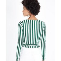 Green Stripe Wrap Front Top New Look